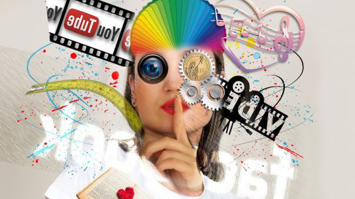 Graphic of woman with social media components around her face