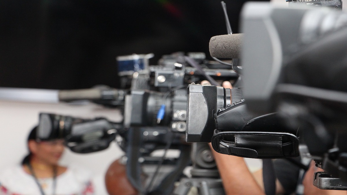 News cameras at a PR event